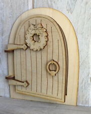 Opening Fairy Elf Door Wooden Craft Kit Plain Blank Ready to Decorate OPEN CX