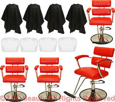 4 Red Padded Arm Professional Hydraulic Barber Chair Styling Spa Salon Equipment
