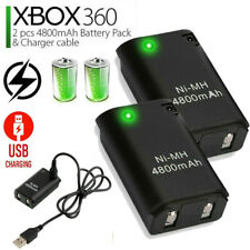 2X 4800mAh Rechargable Battery Pack + Charger Cable Xbox 360 Wireless Controller