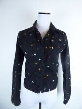 ca9dafd0c7 ISABEL MARANT ETOILE BLACK DENIM STRETCH EMBROIDERED STAR JEAN JACKET 36