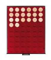 LINDNER Münzbox 2754 Rauchglas für 54 x 2 Euro lose unverkapselte Münzen