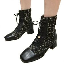 Women Ankle Boot Mid Block Heel Lace Up Pump Zip Tweed Splicing Fall New Shoes D