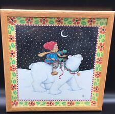 Framed Mary Engelbreit 10.5� square art print snowy night child with polar bear