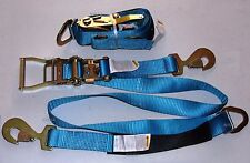 2x (Two Sets) AXLE STRAPS CAR CARRIER TIE DOWN TOWING TOW HAULER TRAILER BLUE