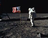 BUZZ ALDRIN ASTRONAUT SALUTES FLAG ON MOON APOLLO 11 - 11X14 NASA PHOTO (LG-078)