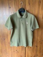 FRED PERRY POLO T-SHIRT Khaki Green Short Sleeve Top Mens MEDIUM - VGC