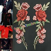 2 x ricamo della Rosa Fiore sul zona , Cappello Jeans Dress Applique Craft