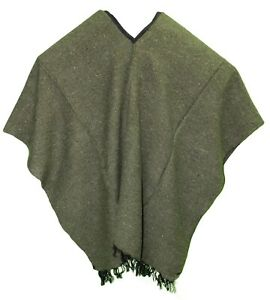 EXTRA WIDE Mexican PONCHO - SOLID Dark GREEN - ONE SIZE FITS ALL BIG AND TALL