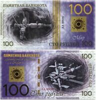 Russia 100 rubles 2021, Space station MIR, Souvenir polymer banknote, UNC
