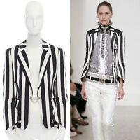 runway BALENCIAGA GHESQUIERE SS06 black white brocade blazer jacket FR38 S
