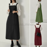 ZANZEA UK Women Cotton Pinafore Sleeveless Party Pocket Dress Sundress Long Maxi
