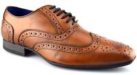 Mens Formal Shoes Tan Leather Lace Up Smart Wedding Dress Brogues Size