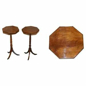 STUNNING PAIR OF VICTORIAN MAHOGANY RING TURNED TRIPOD SIDE END LAMP WINE TABLES