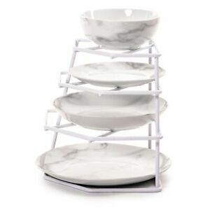 3 Tier Corner Plate Rack Kitchen Cupboard Organiser Strong plate Stand 24 Plates
