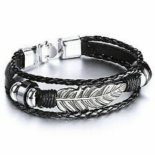 Mendino Men's Alloy Leather Bracelet Woven Braided Angel Feather Cuff Wrap Clasp