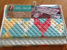 NWT THE PIONEER WOMAN SPRING DIAMOND PATCHWORK FLORAL TABLE RUNNER, reversible