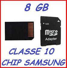 Memory card MicroSD per cellulari e palmari Classe 10 con 8 GB di archiviazione
