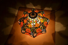 "18""W Rose Flower Jeweled Stained Glass Handcrafted Table Desk Lamp, Zinc Base"