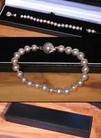 New purple pink real freshwater pearl bracelet with designer clasp in gift box