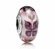 Authentic Pandora PINK BUTTERFLY KISSES 701621 Murano Glass Bead Charm NEW