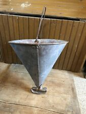 Lg Antique Metal Fire Fighting Bucket Original Condition  Fireman Cone 2 Handle