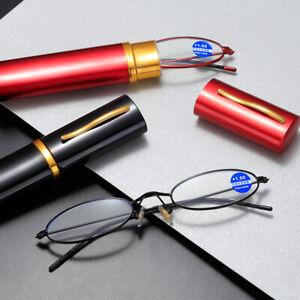 Mens Womens Pocket Reading Glasses Slim Mini Metal Readers with Pen Tube Case