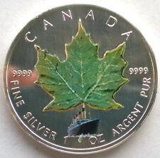 Canada 2005 Green Maple Leaf 5 Dollars 1oz Silver Coin