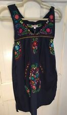 Santa Marguerite Women's Embroidered Floral Tunic Dress Navy S  NWT $325