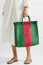 New Authentic Gucci Web Woven Straw Tote Shopper  Bag Large