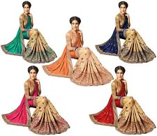 Women Designer Party Wear Heavy Embroidery Silk and Satin Saree