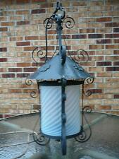 Rare Large Industrial Antique School Iron Lantern Light Chandelier  & Bracket
