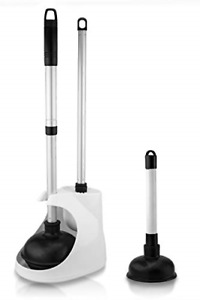 Neiko 60168A Toilet Plunger with Telescopic Aluminum Handle, Cleaning Brush and