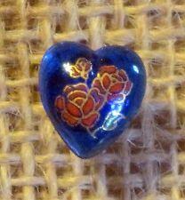 Vintage Japan Red Rose Gold Cobalt Blue Glass Heart Cabochon Earrings 10 x 9 mm