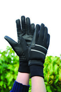 Rhinegold Thinsulate Knitted Cuff Winter Horse Riding Gloves - Black S M L