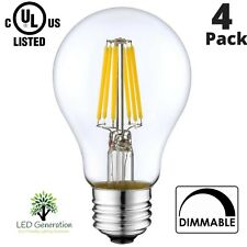 LED A19 Bulbs 6w (60w Equivalent) E26 Base 2700 K (4 Pack) UL List