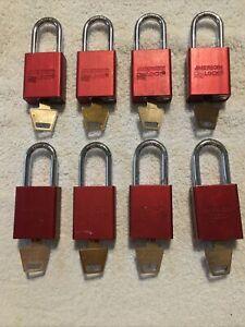 (8) American Lock Model A1105 Series 1100 Key Different Padlocks SEE DESCRIPTION