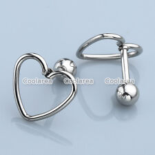 16G Steel Silver Heart Barbell Ear Tragus Cartilage Helix Stud Earrings Piercing