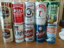 10 Us Brewery Steel Beer Cans - 9 Pull Tabs
