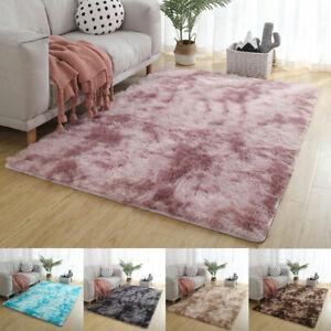 Fluffy Rugs Anti-Slip Tie Dyeing Plush Soft Carpet Mat Living Room Floor Bedroom