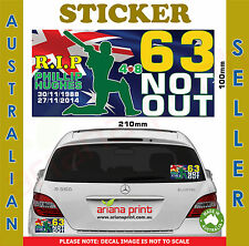 RIP Phillip Hughes 63 Not Out Car Sticker