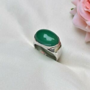 Natural Green Onyx Gemstone with 925 Sterling Silver Ring for Men's EG1422