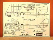 CURTISS JN-4 JENNY FLYING MODEL AIRPLANE PLAN 22""