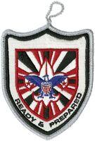 Official BSA Boy Scout Ready & Prepared Silver Border Pocket Patch Emblem New