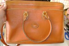 Vintage Dooney & Bourke Leather Zip Top Briefcase Carmel Brown