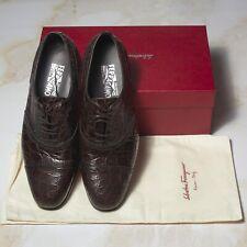 NWB $3400 SALVATORE FERRAGAMO CROCODILE Shoes 10.5UK/11.5US/44.5EU EEE Width