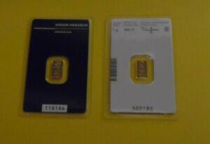 Kinebar 2 Lot 1 Gram Each Fine Gold Hologram Bars Argor Heraeus & Austrian Mint
