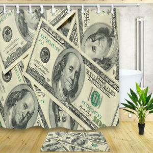 Hundred Dollar Money Symbol Waterproof Polyester Fabric Shower Curtain & 12 Hook