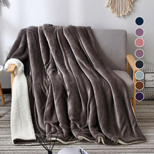 2 Layer Revisible Throw Blanket Cashmere Velvet Warm Weighted Bed Sofa Blanket
