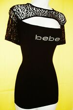 BEBE WOMEN'S SWAROVSKI CRYSTAL RHINESTONE LOGO KEY HOLE TOP STRETCHY SIZE 1X NWT