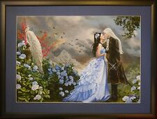 Nene Thomas Lovers Framed Matted Print 22 x 29 Wedding Male Love Peacock NEW